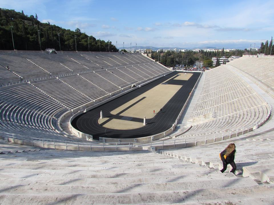 Climbing up for a view over the Panathenaic Stadium in Athens
