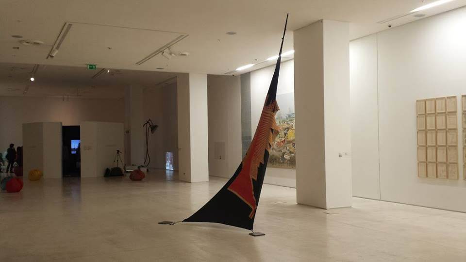 Art display inside the National Museum of Contemporary Art in Athens