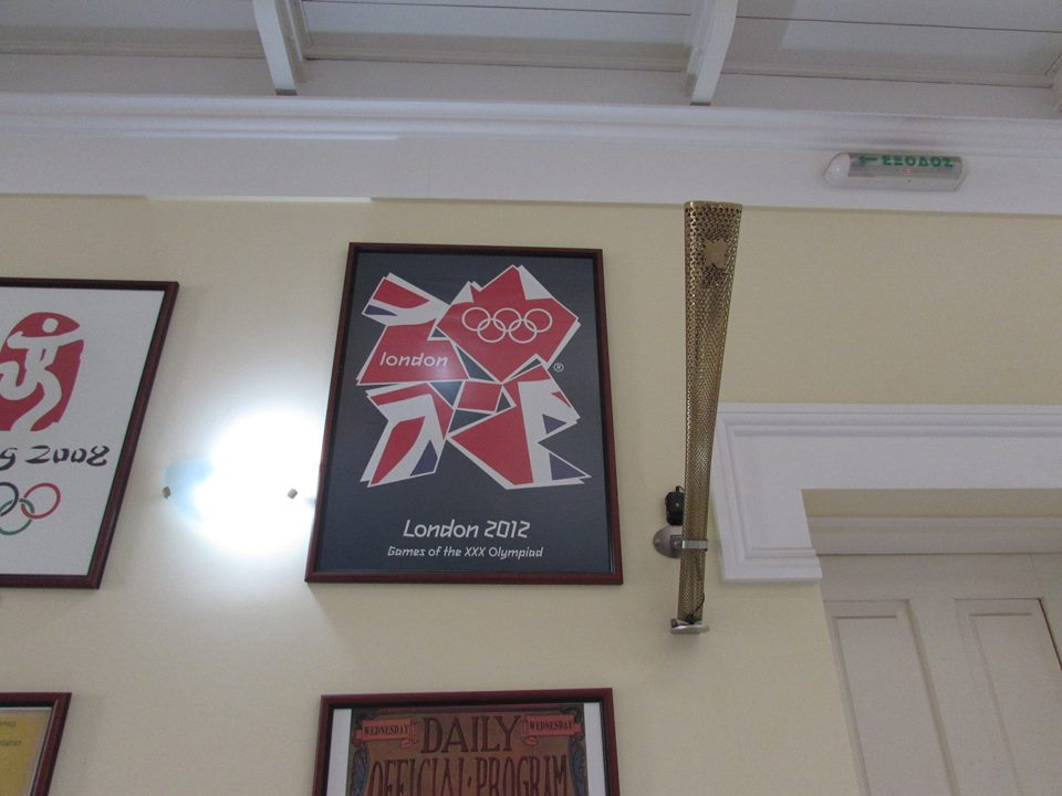London olympic poster and torch inside the Panathenaic Stadium