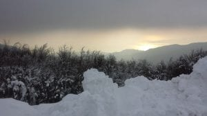 A sunset at Pelion during the winter