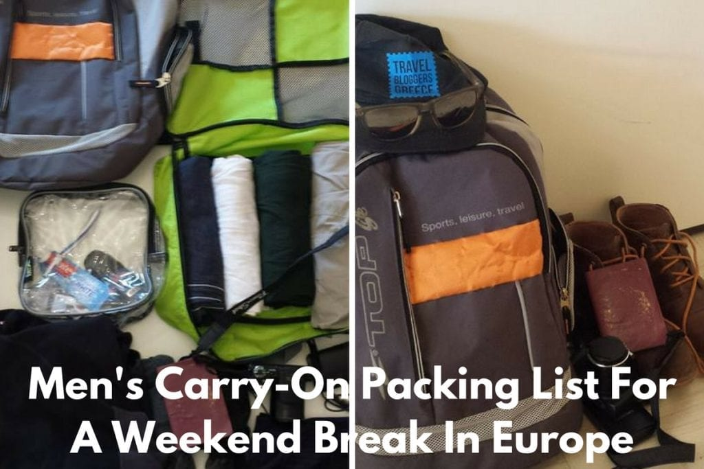 Men's Carry-On Packing List For A Weekend Break In Europe