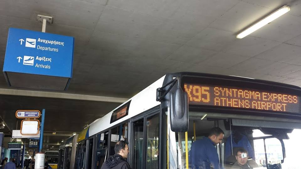 How to get from Athens airport to city center by bus