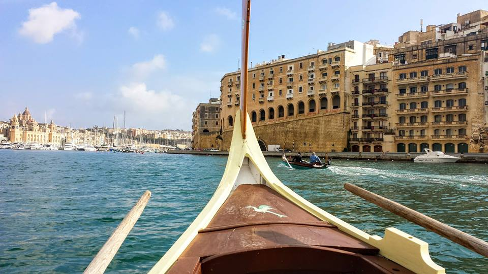 Taking a boat across Grand Harbour in Malta