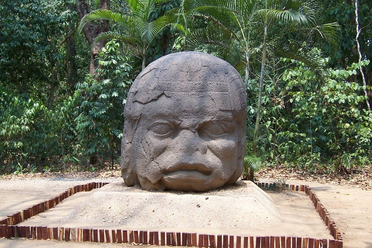 One of the famous Olmec heads in Mexico