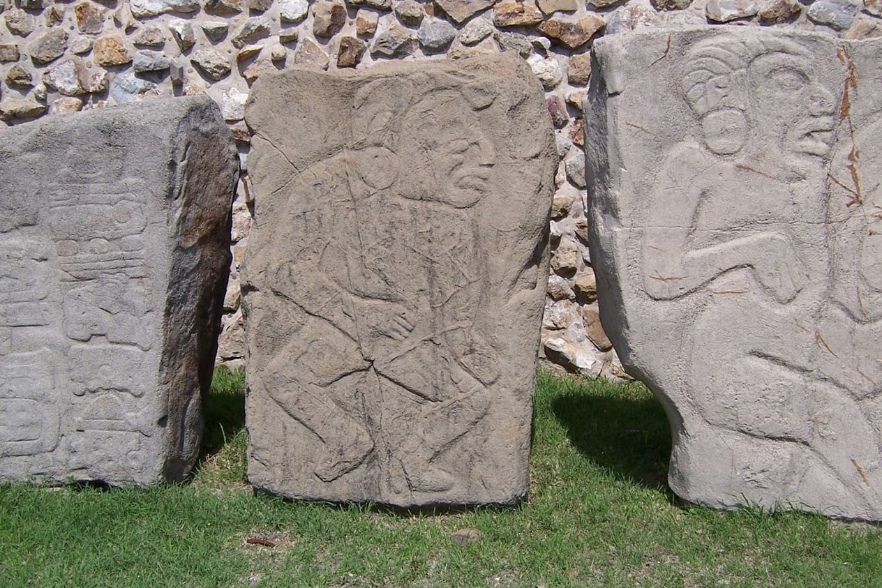 The Dancers stone tablets in Monte Alban