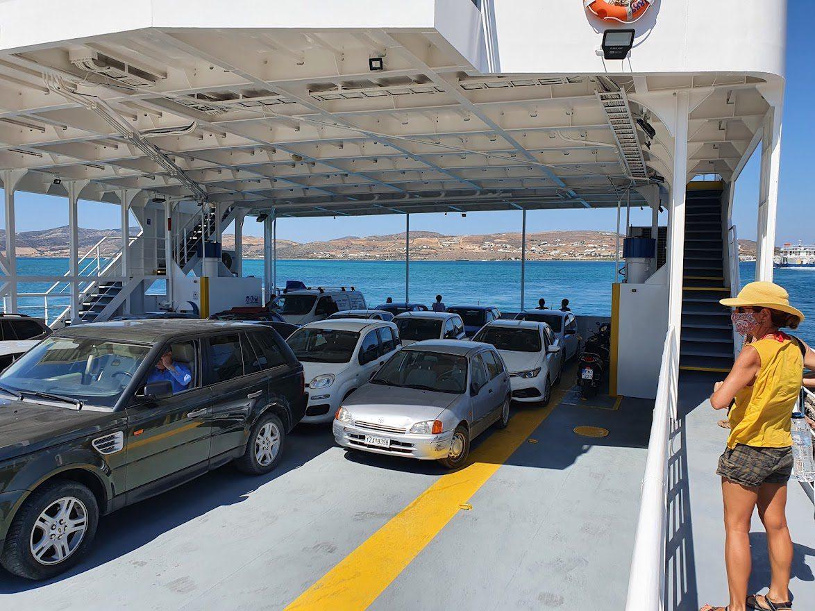 Cars on a Greek ferry