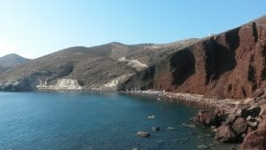 A photo of Red Beach, Santorini. This is one of the more popular beaches on the island due to its colour.