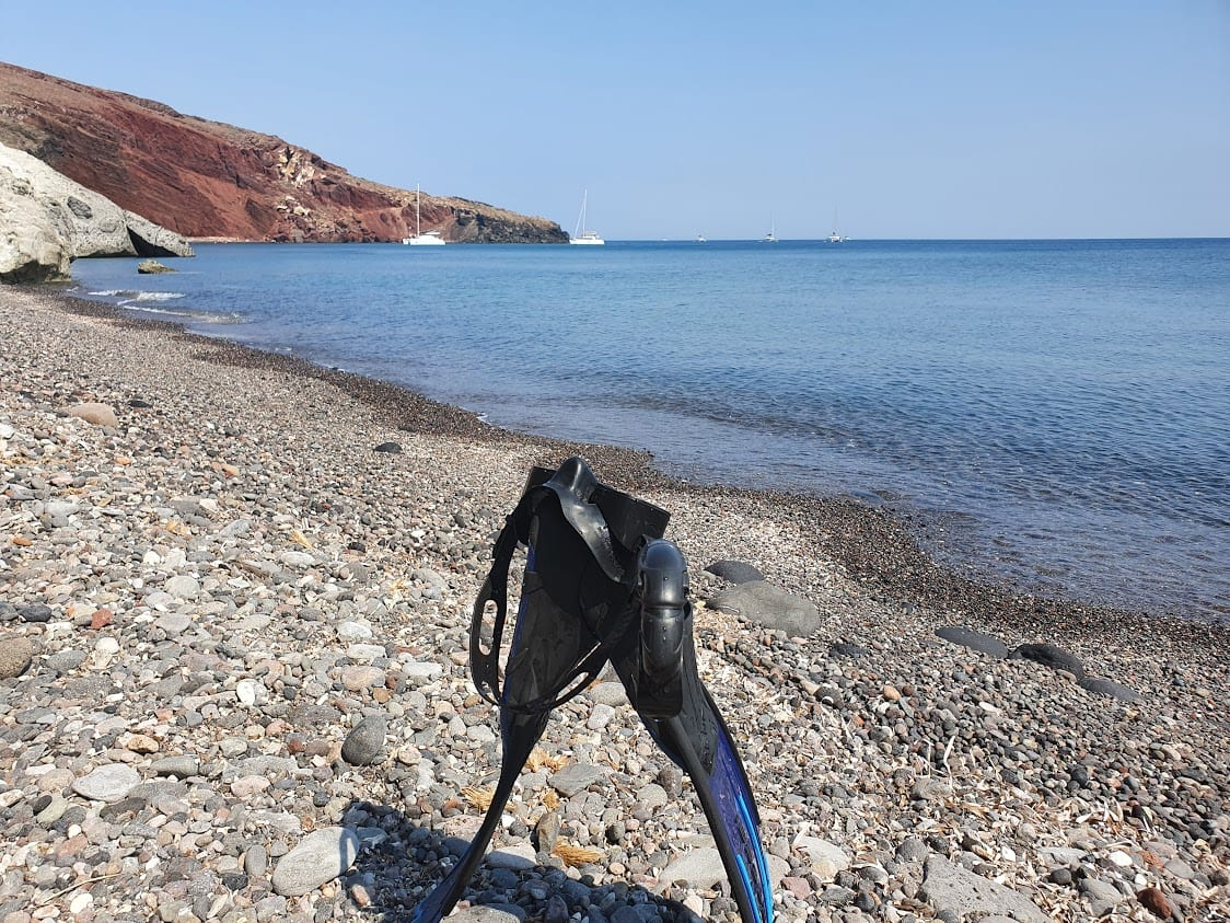 Snorkelling to the Red Beach in Santorini Greece