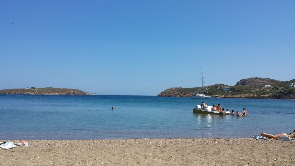 On the beach at Patmos island, Greece