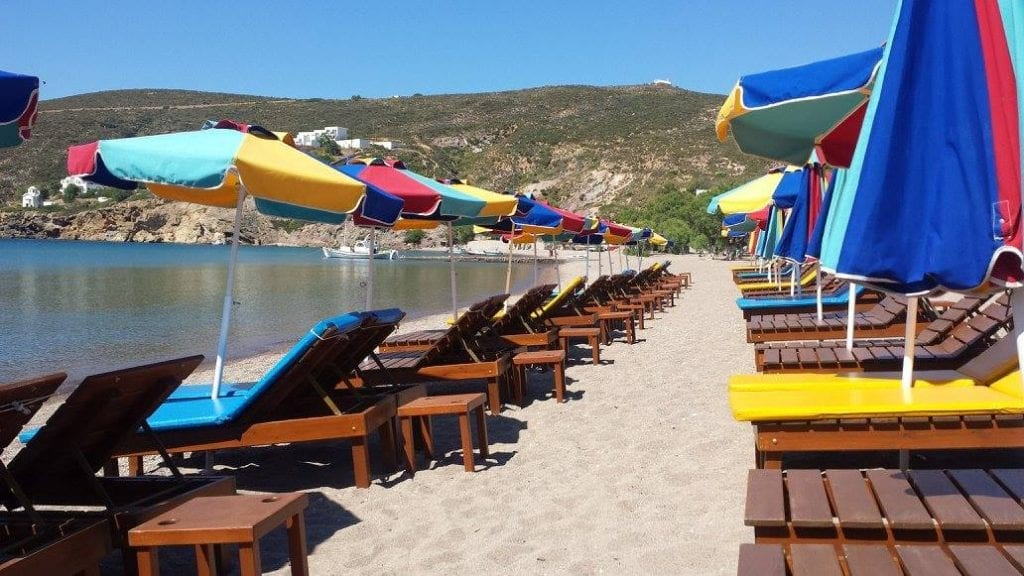 Sunbeds on one of the beautiful Patmos beaches