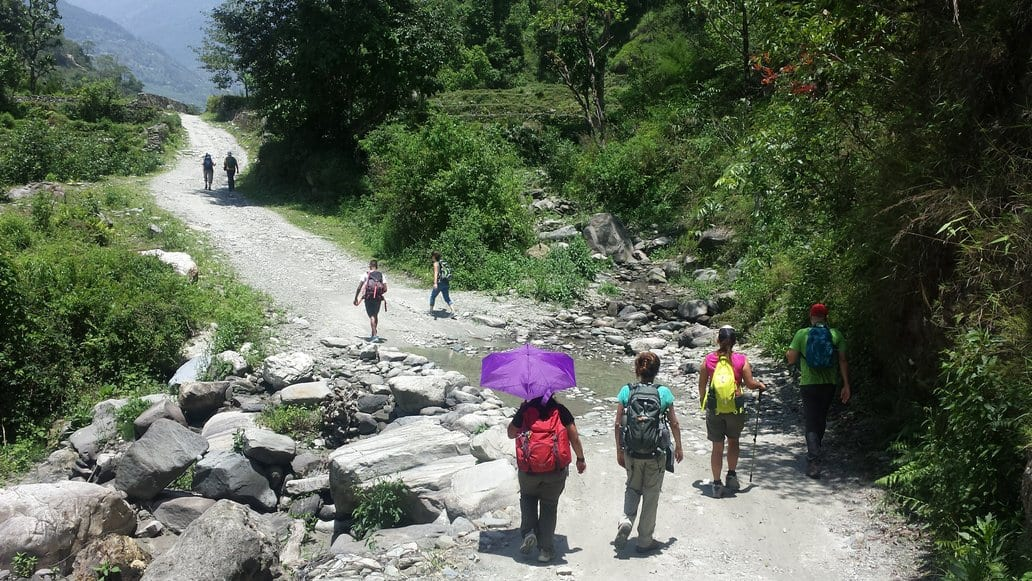 Umbrellas are cool when hiking the Ghorepani Poon Hill trail in Nepal