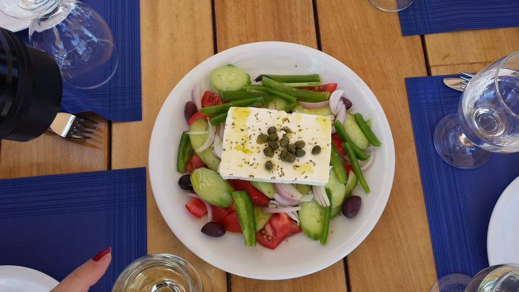 Greek salad in Patmos. A deceptively simple dish, but one in which the restaurants in Patmos excel!