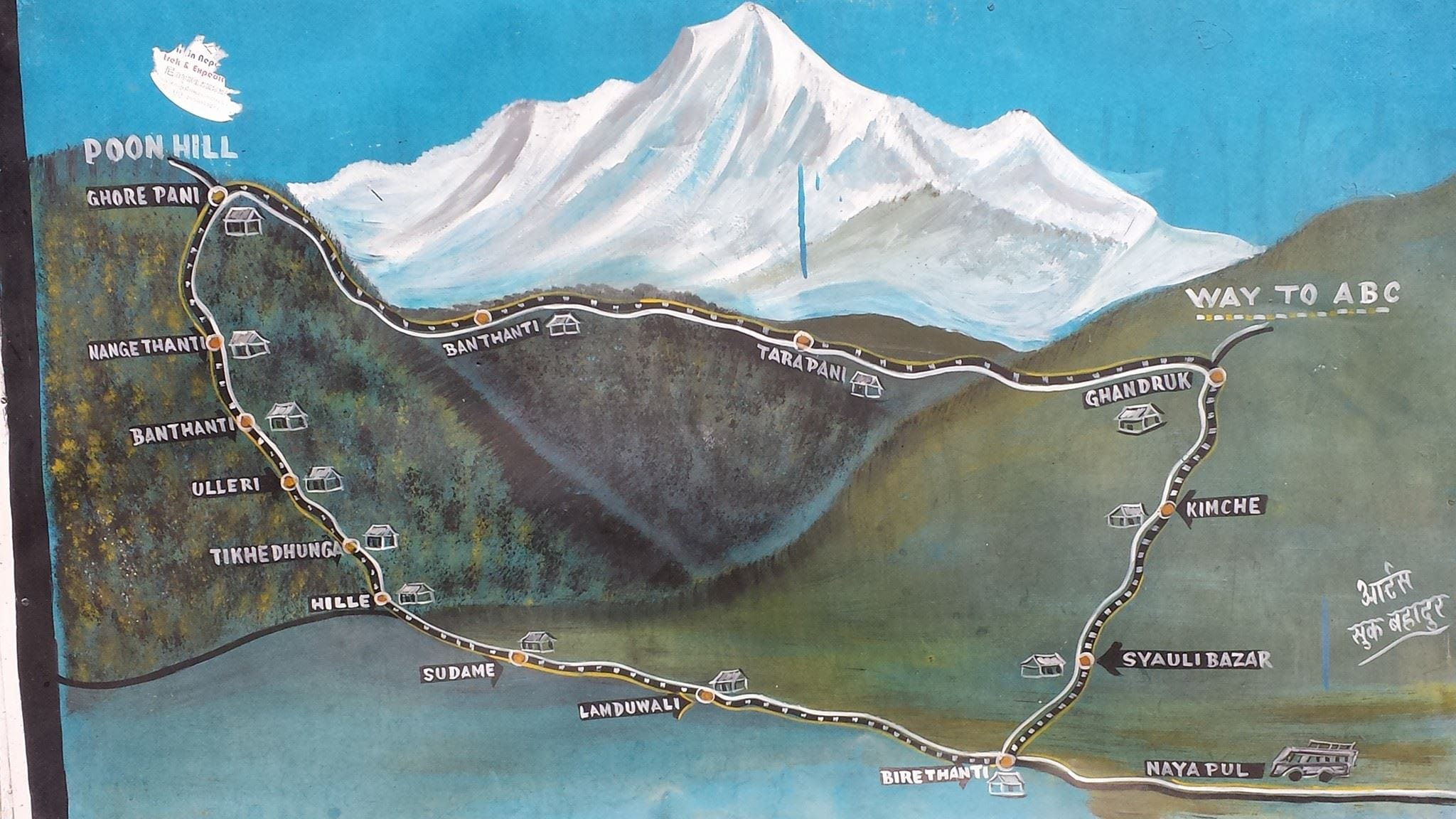 Map of the Ghorepani Poon Hill trek in Nepal