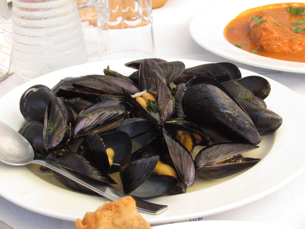 Remember to try the mussels when eating at Ostria, one of the best Skala restaurants in Patmos
