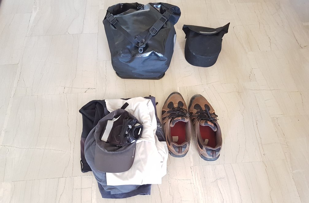 Bike touring gear list for credit card bicycle touring - Super lightweight!