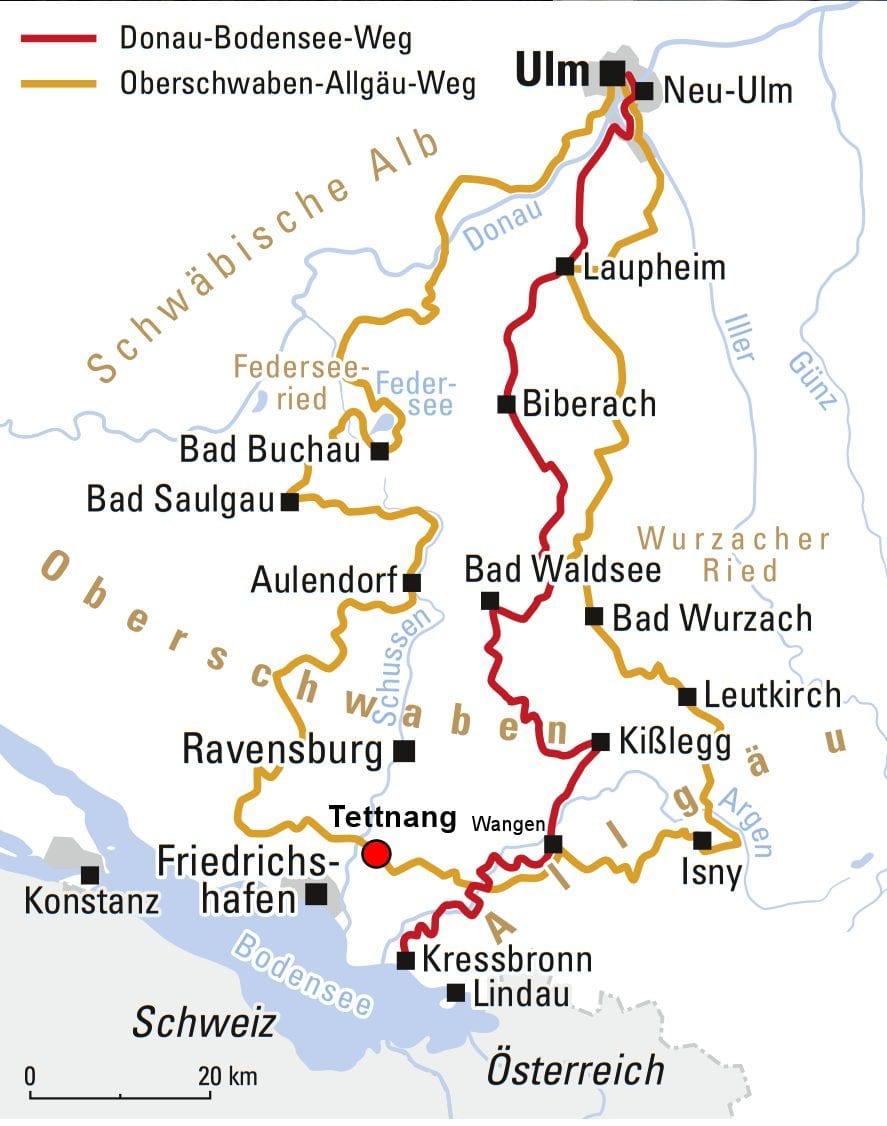 The Danube to Lake Constance cycle route map