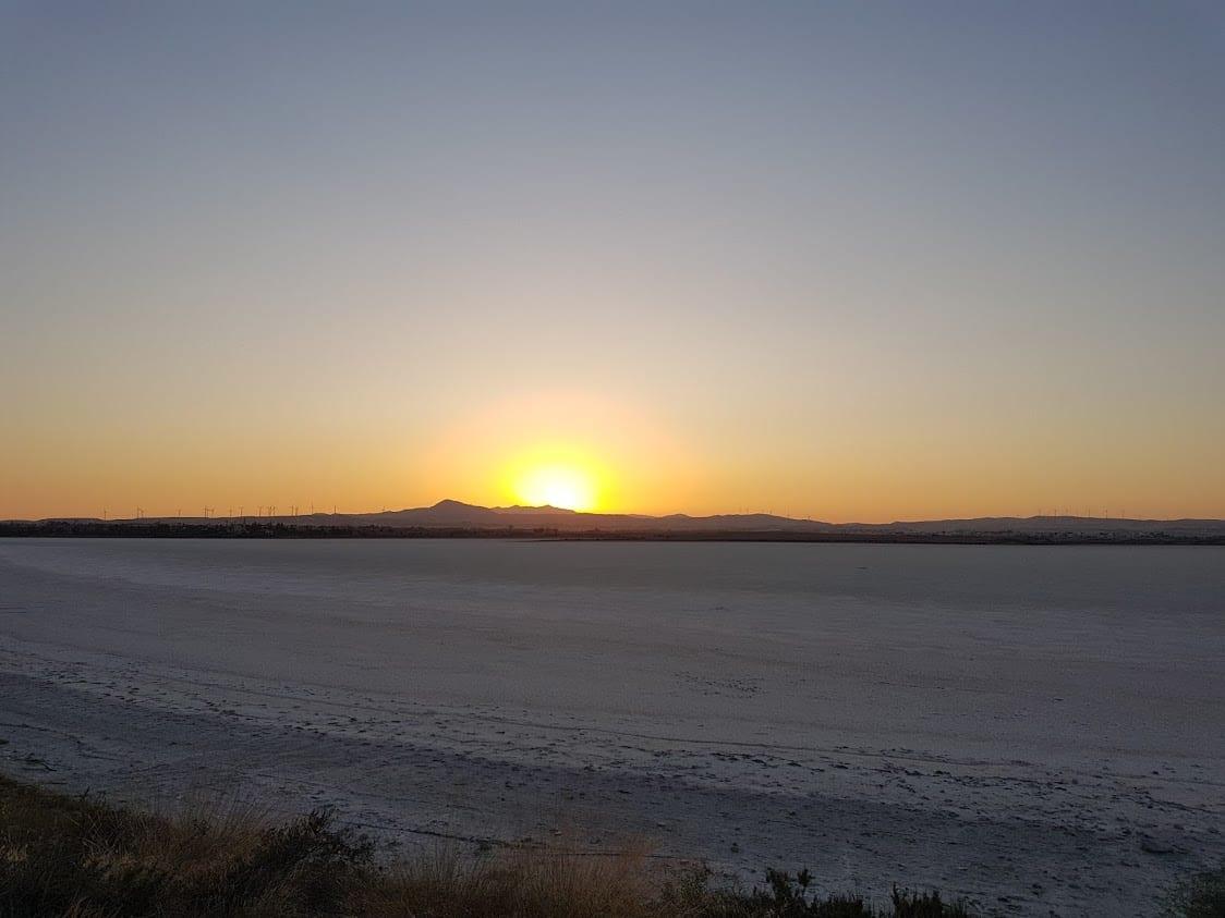 Sunset at Larnaca salt lake