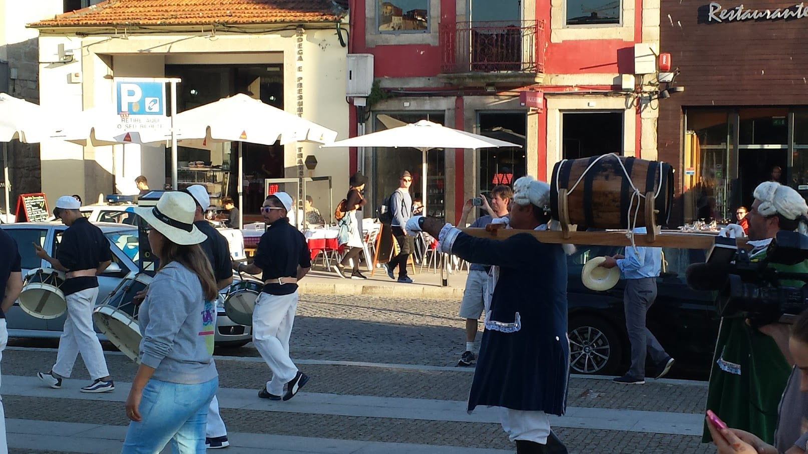 A procession carrying a cask of Port we witnessed whilst spending a day in Porto