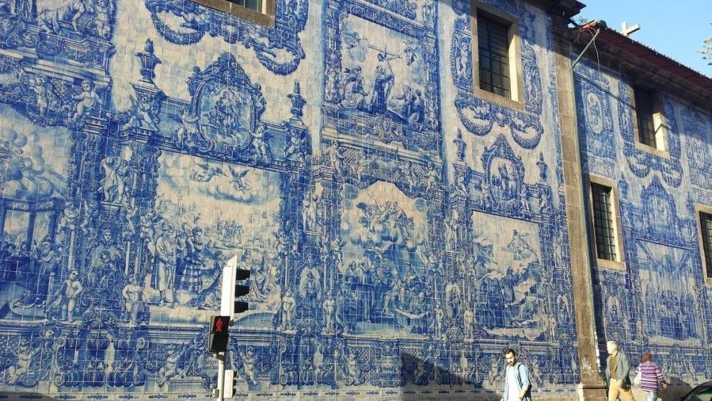 Blue tiled buildings in Porto