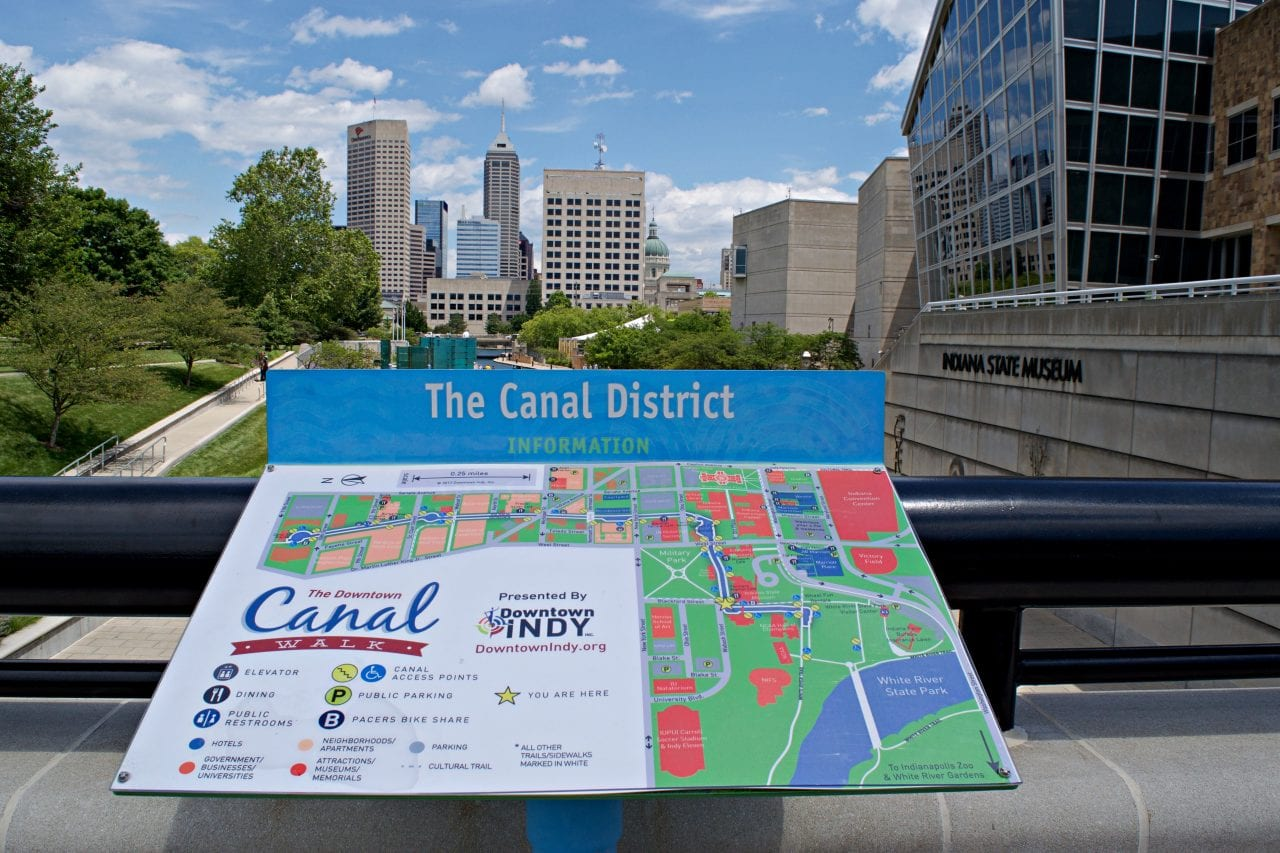 The canal walk in Indianapolis