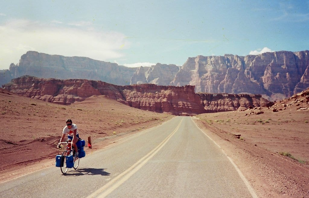Cyclist near the Grand Canyon
