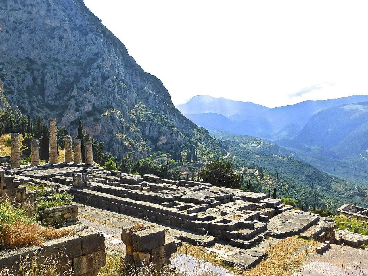 A view of magnificent Temple of Delphi. A great place to visit in a day tour from Athens.
