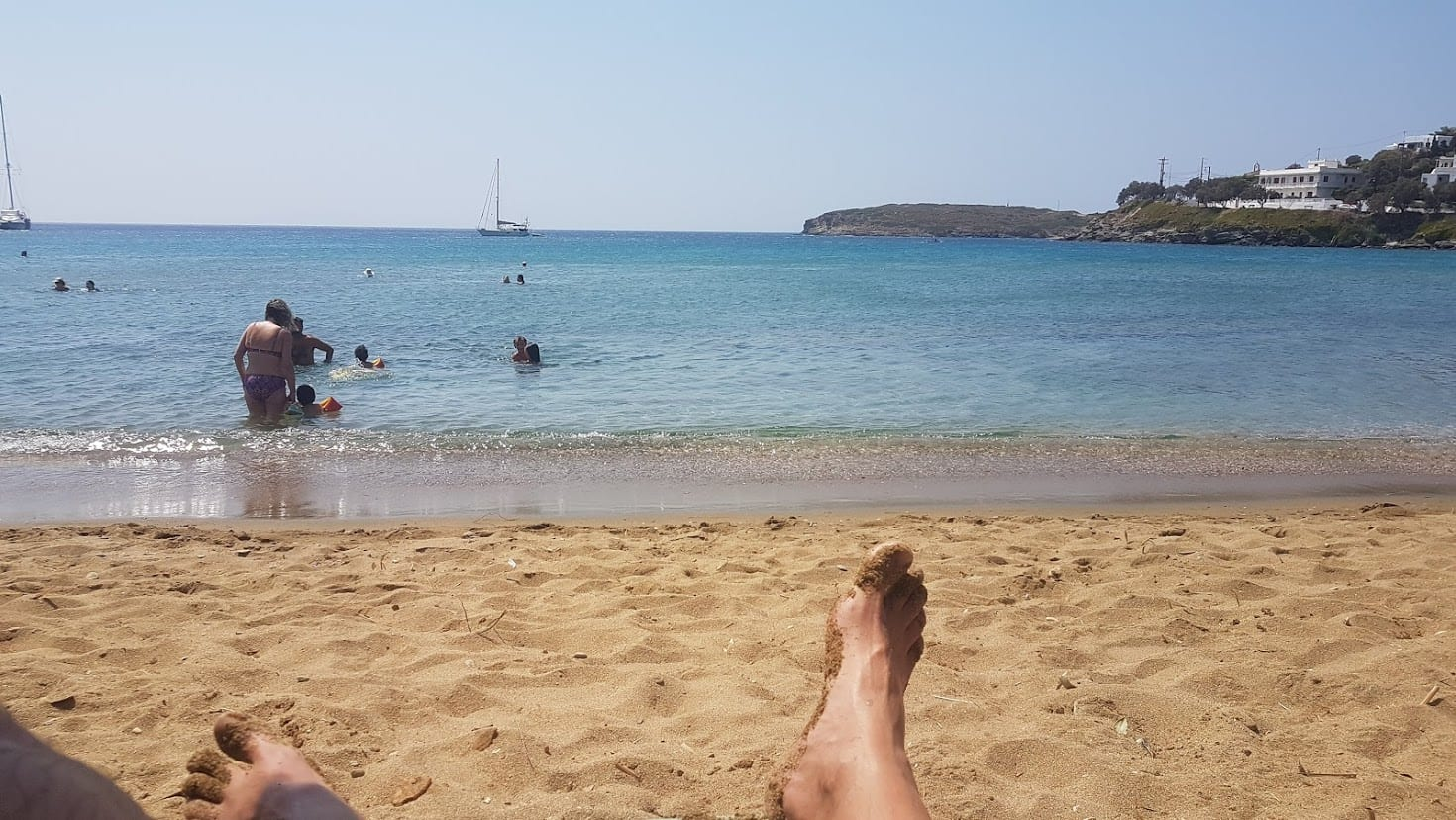Relaxing on the beach in Andros Greece