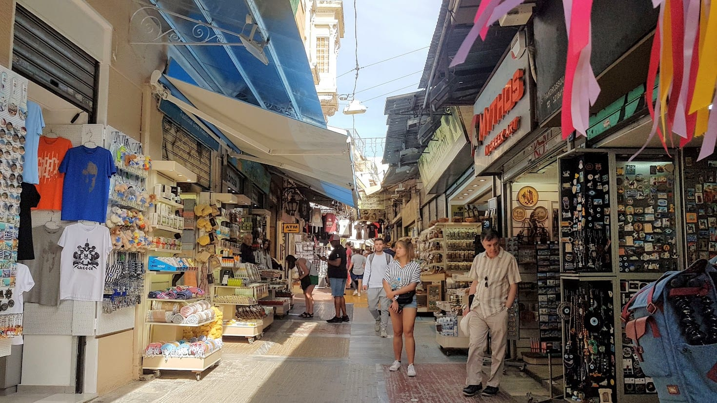 Shopping in the streets of Athens Greece