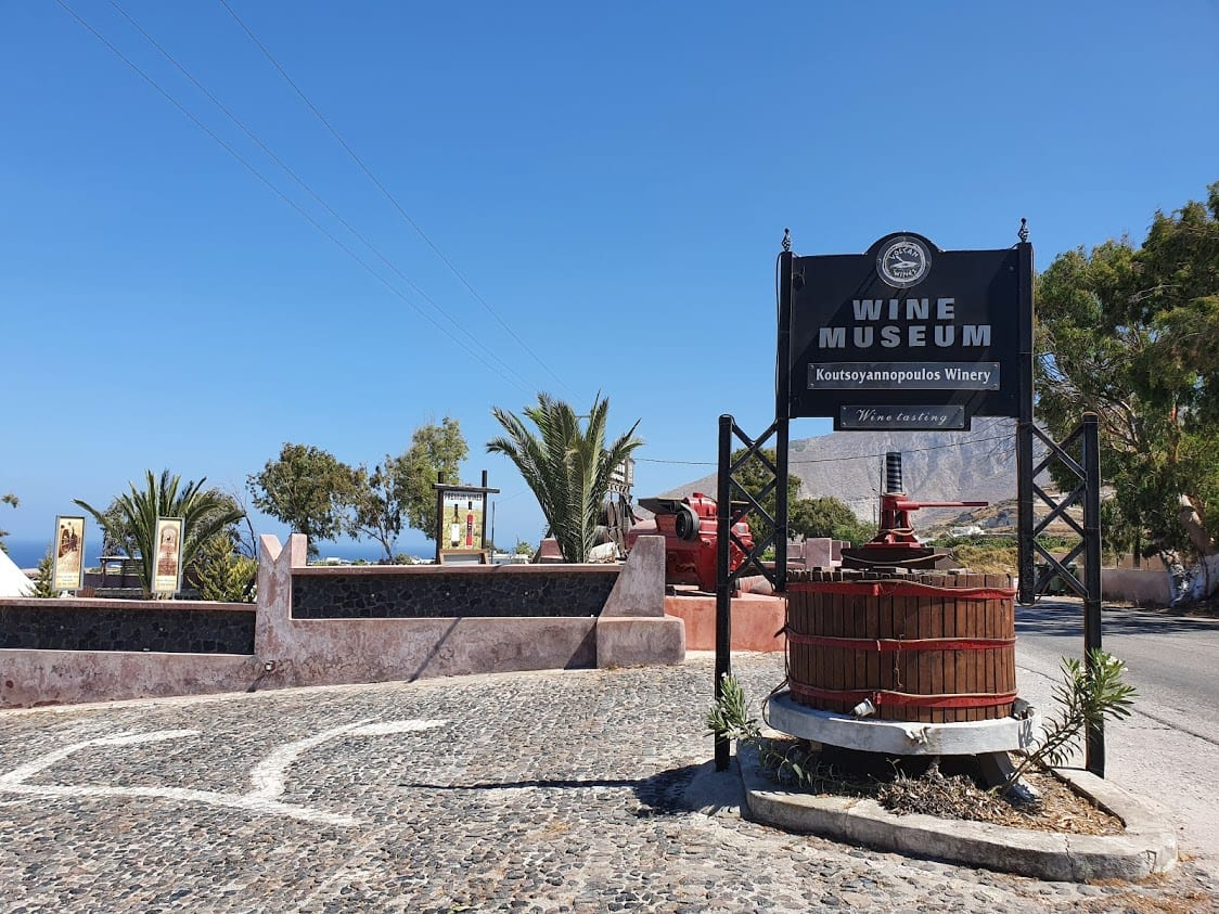 Visiting a wine museum in Santorini Greece