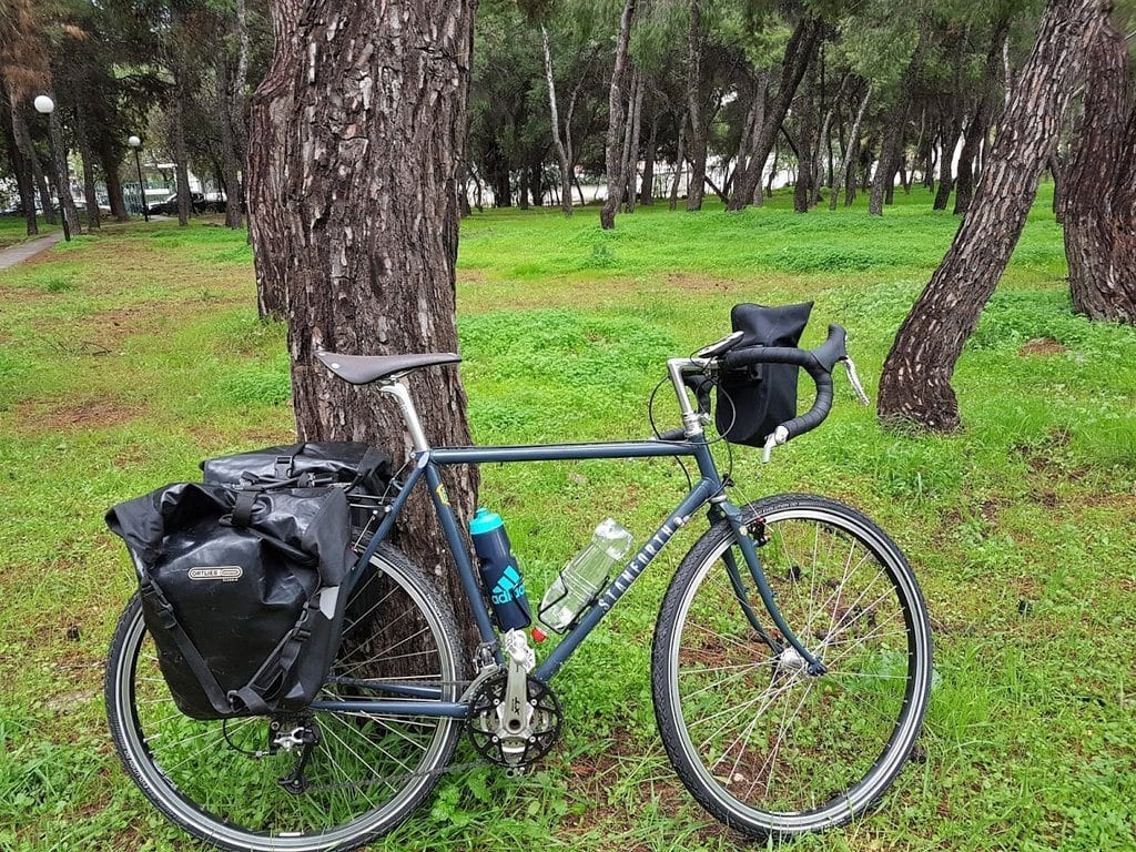 The Stanforth Skyelander loaded and ready for my 2 day bike tour around Athens