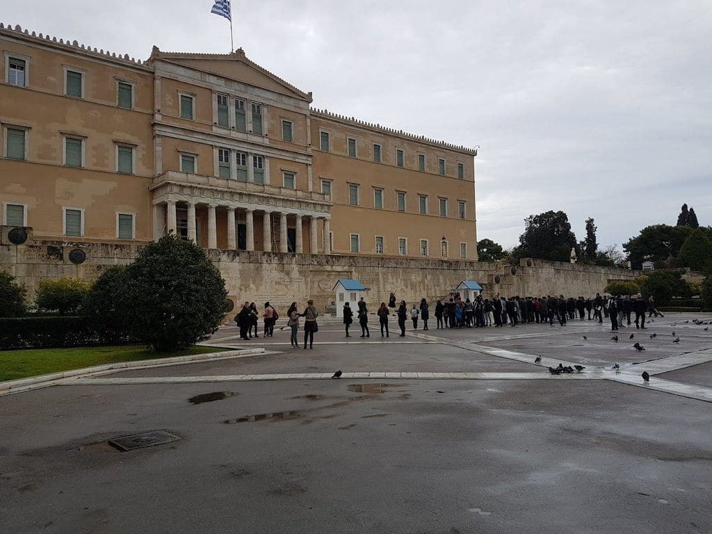 The changing of the guards in Athens on a wet February morning