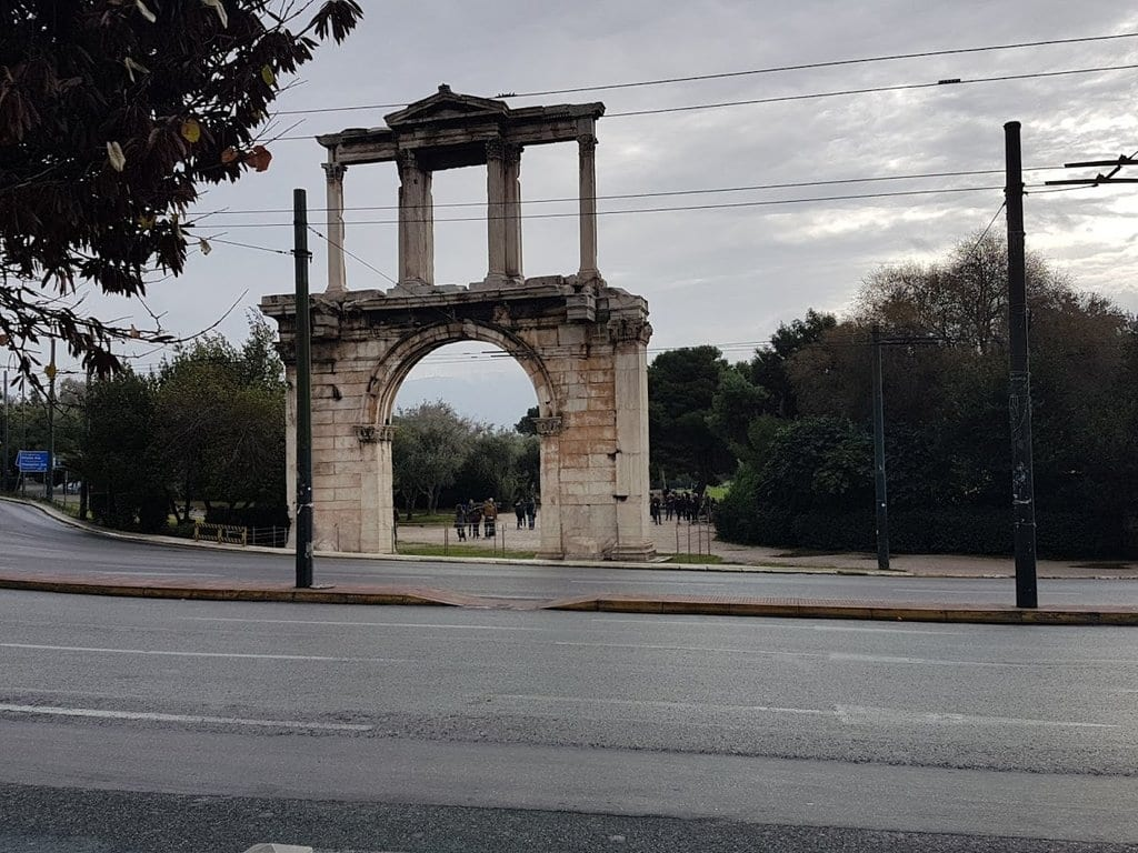 Hadrian's Arch in Athens formed a ceremonial gateway into the city that the Roman's had conquered.