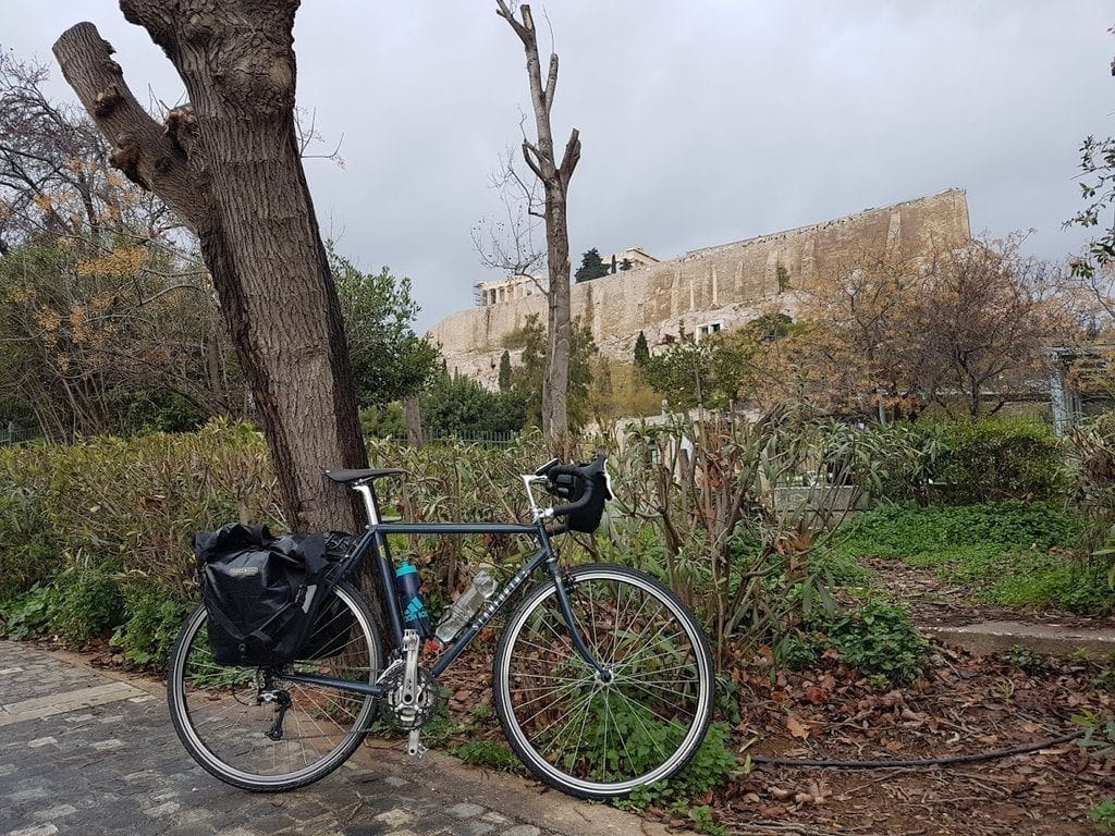 The Stanforth Skyelander classic touring bike in front of the Acropolis in Athens