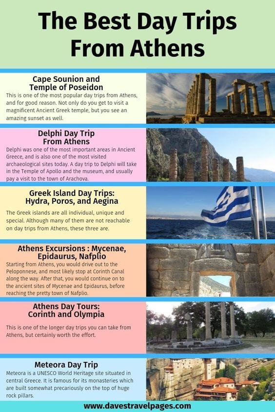 A list of the top day trips from Athens Greece