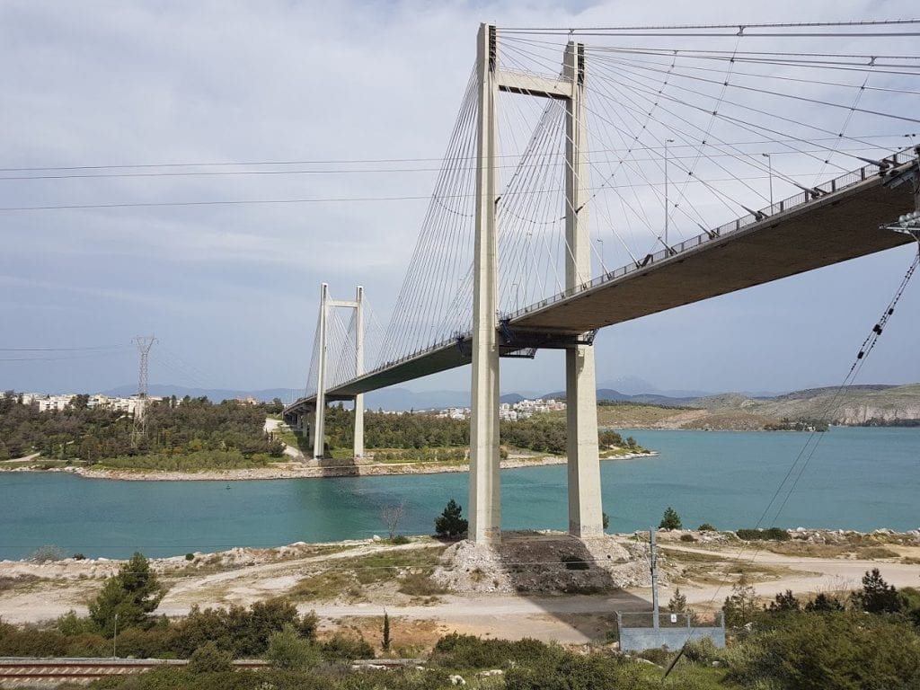 The Halkida High Bridge connecting mainland Greece with Evia