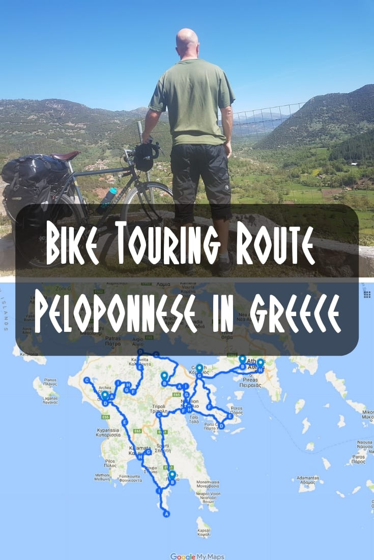 Bikepacking: My bike touring route around the Peloponnese in Greece.