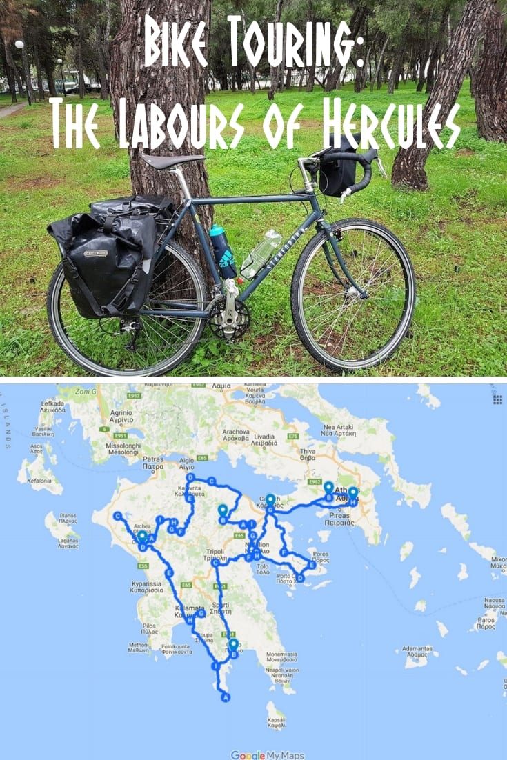 Bike Touring: Planning a bike tour of the Peloponnese in Greece based on the myth of Hercules and the 12 Labours.