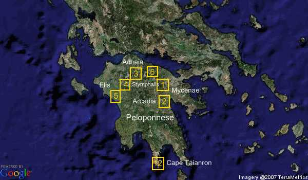 Labours of Hercules locations in the Peloponnese