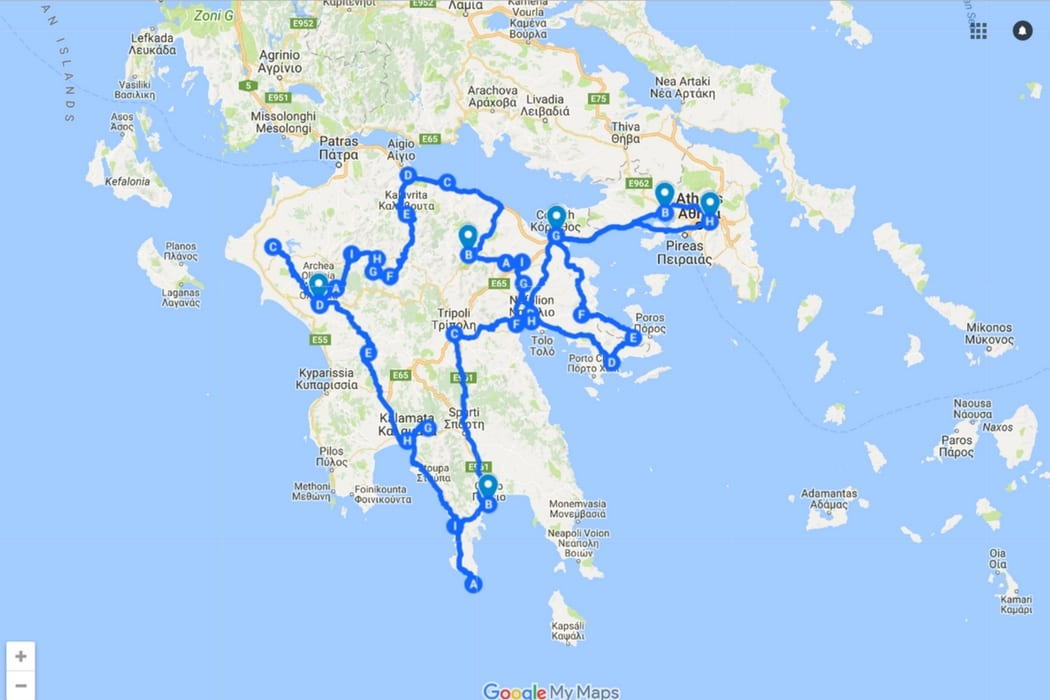 Labours of Hercules bike touring route in the Peloponnese