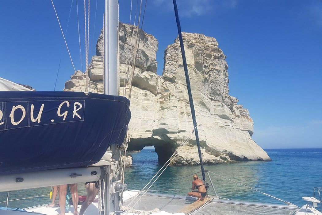 A Milos island catamaran tour is the perfect way to see the island from a unique angle.