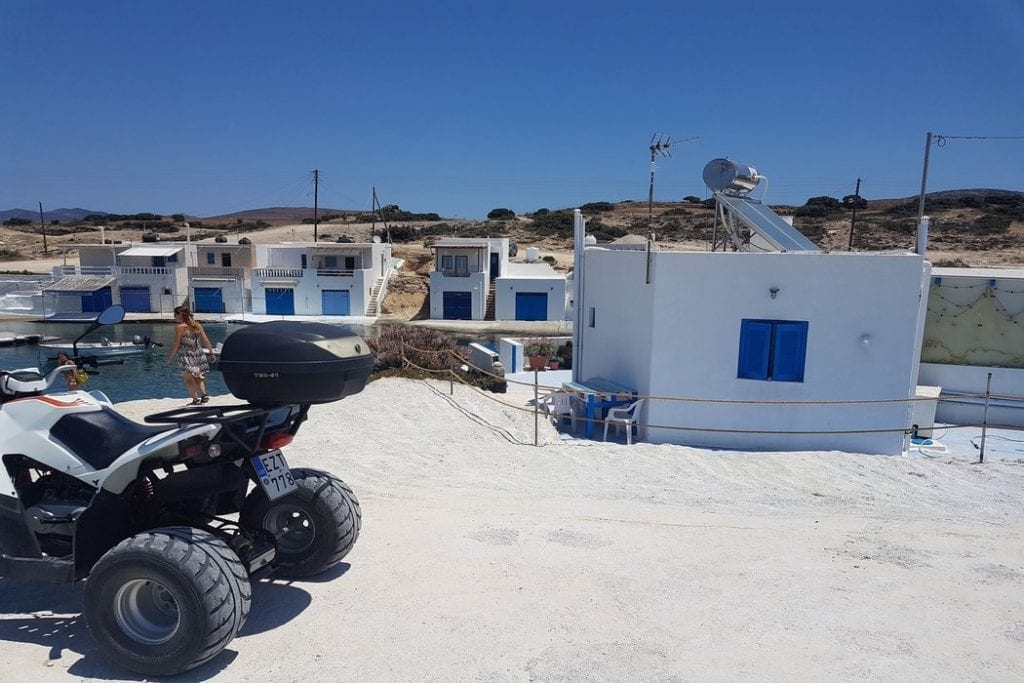 Renting an ATV in Milos is an excellent way of reaching some of the more remote beaches which are located at the end of rough tracks.