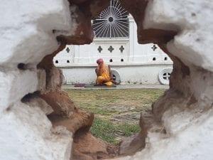 A travel photo of a yogi in Kathmandu