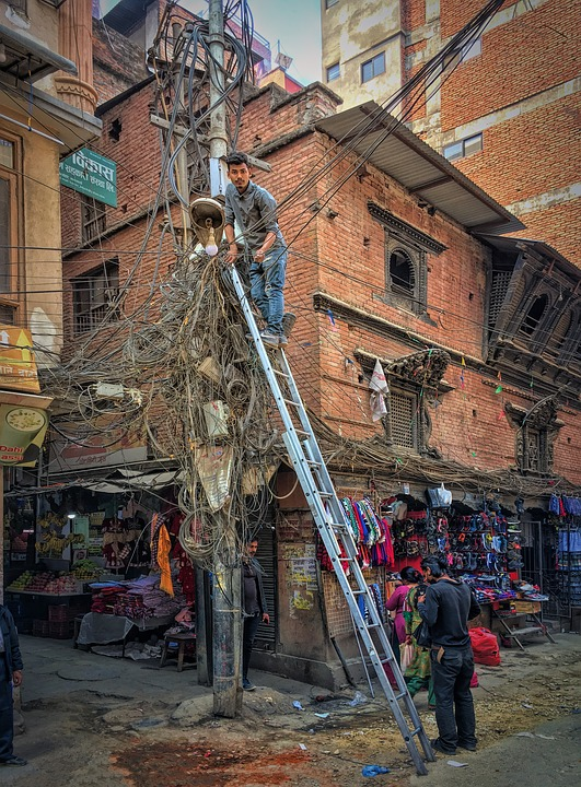 The electric cable system in Kathmandu, Nepal has to be seen to be believed!