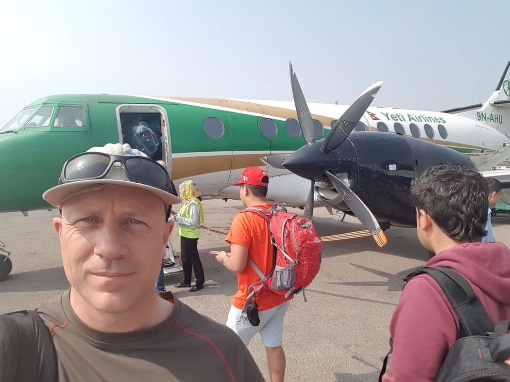 Getting ready to board Yeti airlines from Kathmandu to Pokhara in Nepal