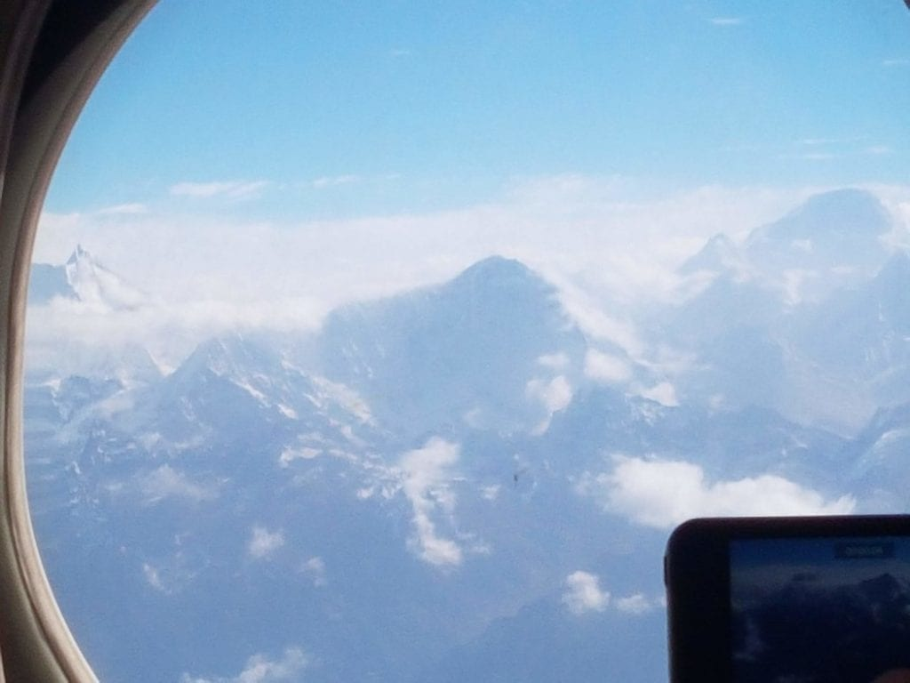 A view out from my plane window on the Everest flight from Kathmandu