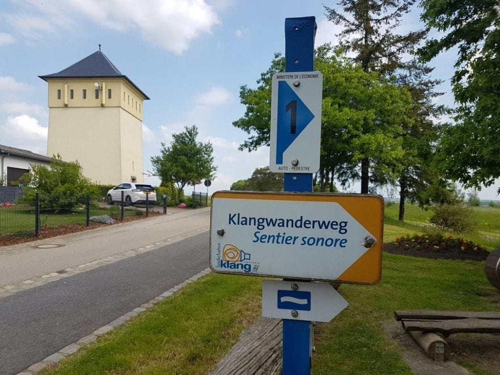 A signpost for the Klangwanderweg which I think is part of the Escapardenne Lee Trail in Luxembourg