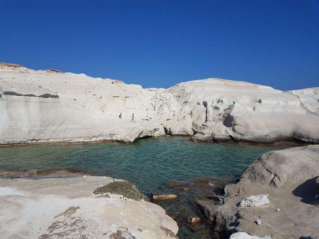 A small bay on Sarakiniko beach Milos Greece