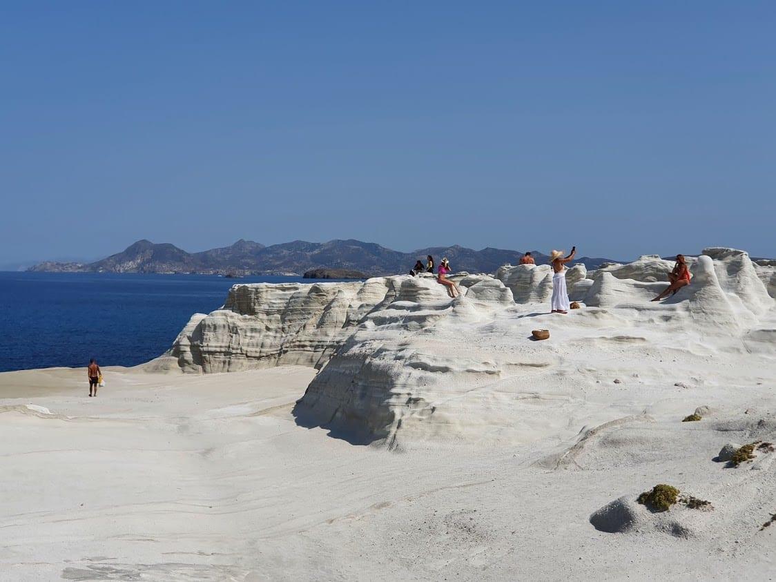 Photos in a perfect setting at Sarakiniko on Milos Island in Greece