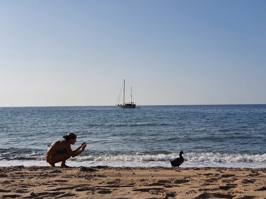 Vanessa and a duck on Agios Ioannis beach Milos