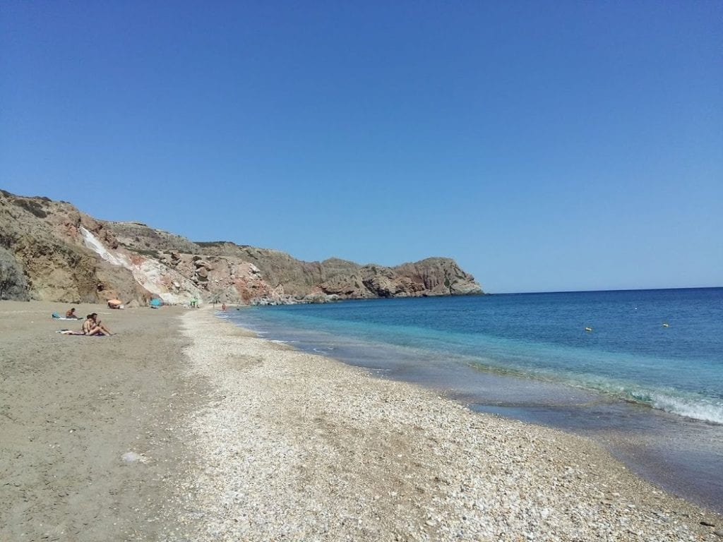 Paleochori Beach, Milos - A long stretch of beach facing on to the wonderful Greek sea